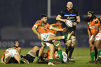 Edoardo Gori of Benetton Rugby box-kicks the ball. European Rugby Champions Cup match, between Benetton Rugby and Bath Rugby on January 20, 2018 at the Municipal Stadium of Monigo in Treviso, Italy. Photo by: Patrick Khachfe / Onside Images