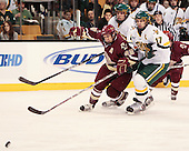 Dan Bertram (BC - 22), Kyle Medvec (Vermont - 6), Mark Lutz (Vermont - 17) - The Boston College Eagles defeated the University of Vermont Catamounts 4-0 in the Hockey East championship game on Saturday, March 22, 2008, at TD BankNorth Garden in Boston, Massachusetts.