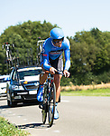 SITTARD, NETHERLANDS - AUGUST 16: Alex Rasmussen of Denmark riding for Garmin-Sharp competes during stage 5 of the Eneco Tour 2013, a 13km individual time trial from Sittard to Geleen, on August 16, 2013 in Sittard, Netherlands. (Photo by Dirk Markgraf/www.265-images.com)