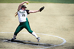 21 MAY 2016:  Madison Williams (24) of Humboldt State University pitches against the University of North Alabama during the Division II Women's Softball Championship held at the Regency Athletic Complex on the Metro State University campus in Denver, CO.  North Alabama defeated Humboldt State 4-1 to win the national title.  Jamie Schwaberow/NCAA Photos