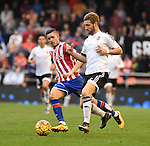 Valencia CF's   Shkodran Mustafi and Sporting de Gijon's Sanabria  during La Liga match. January 31, 2016. (ALTERPHOTOS/Javier Comos)