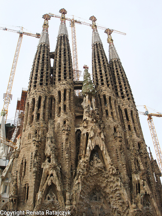 Sagrada Familia church, Nativity Facade designed by Antoni Gaudí, Barcelona, Spain.