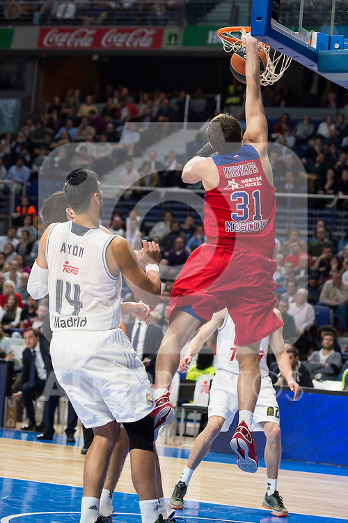 CSKA Moscu's player Khryappa and Real Madrid's player Gustavo Ayon during the match between Real Madrid and CSKA Moscu of Turkish Airlines Euroleague at Barclaycard Center in Madrid, March 02, 2016. (ALTERPHOTOS/BorjaB.Hojas) during the match between Real Madrid and CSKA Moscu of Turkish Airlines Euroleague at Barclaycard Center in Madrid, March 02, 2016. (ALTERPHOTOS/BorjaB.Hojas)