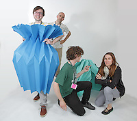 OrigamiUSA 2016 Convention at St. John's University, Queens, New York, USA. Oversized 9' x 9' paper folding zaevent. First timers. Left to right: Ray Schamp, NY, Goran Konjevod, CA, James Peake, OH, Beth Johnson, MI.