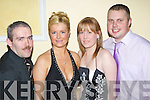 CHEERS: Having a wonderful night out at the New Year's Eve Ball held in the Brandon Hotel on Monday night were l-r: Paudi Byrne, Niamh Casey, Maria Stamp and Ronan Walsh.   Copyright Kerry's Eye 2008
