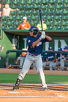 Yerison Pena (4) of the Helena Brewers at bat against the Ogden Raptors in Pioneer League action at Lindquist Field on August 17, 2015 in Ogden, Utah. Ogden defeated Helena 7-2.  (Stephen Smith/Four Seam Images)