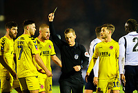 Referee John Busby shows Fleetwood Town's Wes Burns the yellow card<br /> <br /> Photographer Alex Dodd/CameraSport<br /> <br /> The Emirates FA Cup Second Round - Guiseley v Fleetwood Town - Monday 3rd December 2018 - Nethermoor Park - Guiseley<br />  <br /> World Copyright © 2018 CameraSport. All rights reserved. 43 Linden Ave. Countesthorpe. Leicester. England. LE8 5PG - Tel: +44 (0) 116 277 4147 - admin@camerasport.com - www.camerasport.com