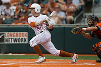 Texas Longhorns third baseman Zane Gurwitz #50 follows through on his swing during the NCAA baseball game against the Oklahoma State Cowboys on April 26, 2014 at UFCU Disch–Falk Field in Austin, Texas. The Cowboys defeated the Longhorns 2-1. (Andrew Woolley/Four Seam Images)