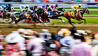 BALTIMORE, MD - MAY 19: Horses in the Allaire DuPont Distaff pass the stands for the first time on Black-Eyed Susan Day at Pimlico Race Course on May 19, 2017 in Baltimore, Maryland.(Photo by Scott Serio/Eclipse Sportswire/Getty Images)