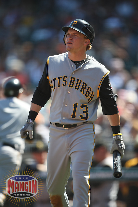 SAN FRANCISCO - SEPTEMBER 7:  Nate McLouth of the Pittsburgh Pirates gets ready to bat during the game against the San Francisco Giants at AT&T Park in San Francisco, California on September 7, 2008.  The Giants defeated the Pirates 11-6.  Photo by Brad Mangin