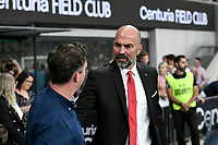 1st January 2020; Bankwest Stadium, Parramatta, New South Wales, Australia; Australian A League football, Western Sydney Wanderers versus Brisbane Roar; Markus Babbel coach of Western Sydney Wanderers greets Robbie Fowler coach of Brisbane Roar before kick off - Editorial Use