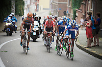 Bjorn Leukemans (BEL/Wanty-Groupe Gobert), Marco Marcato (ITA/Wanty-Groupe Gobert), Vegard Breen (NOR/Lotto-Soudal) &amp; Wout Van Aert (BEL/Vastgoedservice-Golden Palace) are in the decisive breakaway formation around the city of Leuven<br /> <br /> GP Jef Scherens 2015
