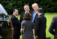 US President Donald Trump with Secretary of State Mike Pompeo speak with  Kim Yong Chol, former North Korean military intelligence chief and one of leader Kim Jong Un's closest aides, after a meeting in the  Oval Office of the White House in Washington on Friday, June 1, 2018. <br /> CAP/MPI/RS<br /> &copy;RS/MPI/Capital Pictures