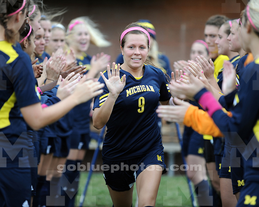 """The University of Michigan women's soccer team beat Purdue, 2-0, in the """"Pink Game"""" at UM Soccer Stadium in Ann Arbor, Mich., on October 14, 2012."""