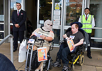Disabled People Against Cuts for The Atos Games Birmingham protest: Tuesday 28th August.Midlands DBC, Five Ways Complex, Islington Row, Edgbaston, Birmingham, B15 1SL Background GS4 Guards