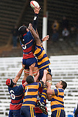 Michael Sala reaches high for lineout ball. CMRFU Counties Power 2008 Club rugby McNamara Cup Premier final between Ardmore Marist & Patumahoe played at Growers Stadium, Pukekohe on July 26th.  Ardmore Marist won 9 - 8.