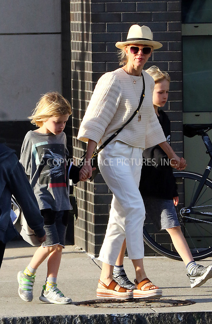 WWW.ACEPIXS.COM<br /> <br /> April 18 2016, New York City<br /> <br /> Actress Naomi Watts walks in Tribeca with her sons Sam and Sasha on April 18 2016 in New York City<br /> <br /> By Line: Zelig Shaul/ACE Pictures<br /> <br /> <br /> ACE Pictures, Inc.<br /> tel: 646 769 0430<br /> Email: info@acepixs.com<br /> www.acepixs.com