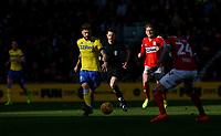 Leeds United's Mateusz Klich plays a ball past Middlesbrough's Aden Flint<br /> <br /> Photographer Alex Dodd/CameraSport<br /> <br /> The EFL Sky Bet Championship - Middlesbrough v Leeds United - Saturday 9th February 2019 - Riverside Stadium - Middlesbrough<br /> <br /> World Copyright © 2019 CameraSport. All rights reserved. 43 Linden Ave. Countesthorpe. Leicester. England. LE8 5PG - Tel: +44 (0) 116 277 4147 - admin@camerasport.com - www.camerasport.com