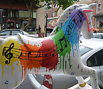 "A view of, ""Splash of Music"" by artist, Anastasia LaPeruta, one of the Rockin' Horses on display around Saugerties, NY as part of the Chamber of Commerce sponsored Art in the Village Project titled ""Rockin' Around Saugerties."" This photo taken on Friday, May 26, 2017. Photo by Jim Peppler. Copyright/Jim Peppler-2017."