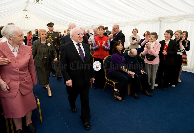 President Michael D Higgins arrives in the marquee for the official opening of the Watermans Lodge day Care and Respite centre at Ballina. Photograph by John Kelly.