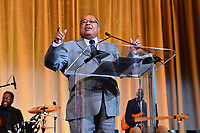 Washington, DC - September 14, 2018: NAACP Board Chairman Leon Russell speaks at the National Newspaper Publishers Association awards banquet held at the Marriott Marquis in Washington, DC September 14, 2018.  (Photo by Don Baxter/Media Images International)