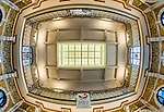 Fisheye view of the ceiling in Dunedin Railway Station in Dunedin, New Zealand