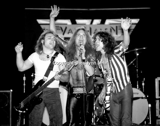 Michael Anthony, David Lee Roth, and Eddie Van Halen, perform onstage at a Van Halen concert at the Palladium in New York City in March, 1978.