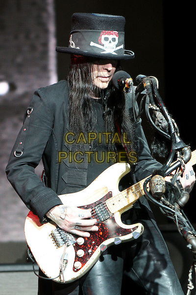 "MICK MARS of MOTLEY CRUE.Motley Crue Press Conference Announcing ""Crue Fest"" 2008 Concert Series at Avalon Hollywood, Hollywood, California, USA, 15 April 2008..live on stage in concert gig band music half length guitar black hat jacket skull.CAP/ADM/BP.©Byron Purvis/Admedia/Capital PIctures"