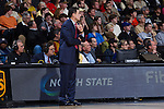 Louisville Cardinals head coach Rick Pitino watches his team from the sideline during first half action against the Wake Forest Demon Deacons at the LJVM Coliseum on January 4, 2015 in Winston-Salem, North Carolina.  The Cardinals defeated the Demon Deacons 85-76.  (Brian Westerholt/Sports On Film)