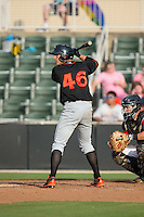 Derek Peterson (46) of the Delmarva Shorebirds at bat against the Kannapolis Intimidators at CMC-Northeast Stadium on June 7, 2015 in Kannapolis, North Carolina.  The Shorebirds defeated the Intimidators 9-1.  (Brian Westerholt/Four Seam Images)