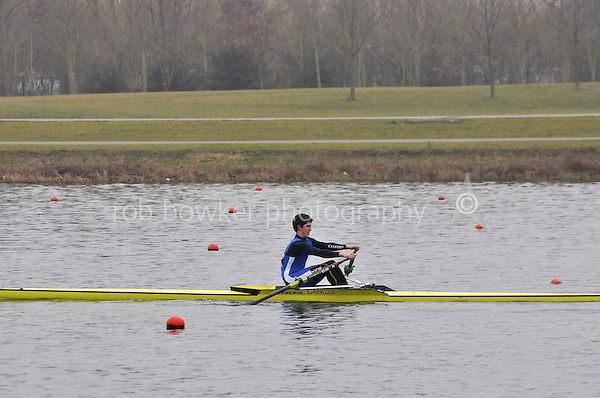 304 CanfordSch J16A.1x..Marlow Regatta Committee Thames Valley Trial Head. 1900m at Dorney Lake/Eton College Rowing Centre, Dorney, Buckinghamshire. Sunday 29 January 2012. Run over three divisions.