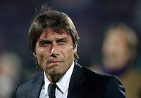 Calcio, ritorno degli ottavi di finale di Europa League: Fiorentina vs Juventus. Firenze, stadio Artemio Franchi, 20 marzo 2014. <br /> Juventus coach Antonio Conte looks on prior to the start of the Europa League round of 16 second leg football match between Fiorentina and Juventus at Florence's Artemio Franchi stadium, 20 March 2014. Juventus won 1-0 to advance to the round of eight.<br /> UPDATE IMAGES PRESS/Isabella Bonotto