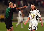 Mexico (22.02.2006) Brazilian referee Heber Lopes shouts out at UNAM Pumas midfielder Leandro Augusto (R) during the soccer match against Maracaibo of Copa Libertadores first leg in Mexico City's University Stadium, February 22, 2006. Maracaibo won 1-0 to UNAM. © Photo by Javier Rodriguez/