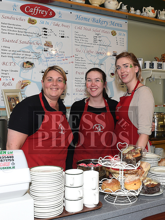 Staff members of Caffrey's bakery and coffee shop Ruth Cunningham, Shauna and Leah Gallagher pictured during the Ardee Bonanza weekend. Photo:Colin Bell/pressphotos.ie
