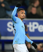 6th February 2019, Goodison Park, Liverpool, England; EPL Premier League Football, Everton versus Manchester City; Gabriel Jesus of Manchester City celebrates his goal after 8 additional minutes of injury time
