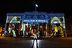 """The faces and names of forty volunteers from the Salisbury area have been nominated to be projected onto the front of Salisbury's Guildhall.<br /> <br /> The illumination will light up the building to celebrate Volunteers Day, today, Thursday 4th June, after residents of Salisbury, Wilts, told the council someone who has volunteered and helped them or the local community during the Covid-19 pandemic.<br />  <br /> Peachy Productions will light up Salisbury Guildhall tonight with spectacular illuminations to thank volunteers and NHS staff using a number of different slides.<br /> <br /> Leader of the Council, Cllr Jeremy Nettle said """"We have projected some fantastic illuminations over past weeks to celebrate VE Day, NHS and key workers. Now I am delighted that on the 4th June we will be able to light up The Guildhall with photos of our volunteers in Salisbury (a picture says more than a 1,000 words) who have played such a vital part in our lives during the pandemic."""" <br /> <br />  © Simon Czapp/Solent News & Photo Agency<br /> UK +44 (0) 2380 458800"""