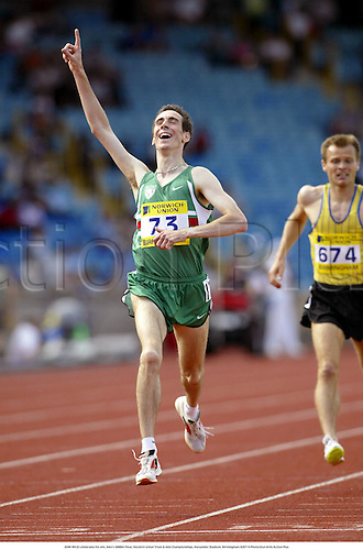 JOHN WILD celebrates his win, Men's 5000m Final, Norwich Union Trials & AAA Championships, Alexander Stadium, Birmingham 020714 Photo:Glyn Kirk/Action Plus...2002 Athletics.Track and Field .man joy celebration celebrations celebrate.male jon