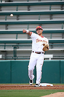 Jeremy Martinez (2) of the Southern California Trojans throws to the infield between innings of a came against the Mississippi State Bulldogs at Dedeaux Field on March 5, 2016 in Los Angeles, California. Mississippi State defeated Southern California , 8-7. (Larry Goren/Four Seam Images)