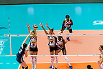 Anna Danesi of Italy (R) blocks Yingying Li of China (L)  during the FIVB Volleyball Nations League Hong Kong match between China and Italy on May 31, 2018 in Hong Kong, Hong Kong. Photo by Marcio Rodrigo Machado / Power Sport Images