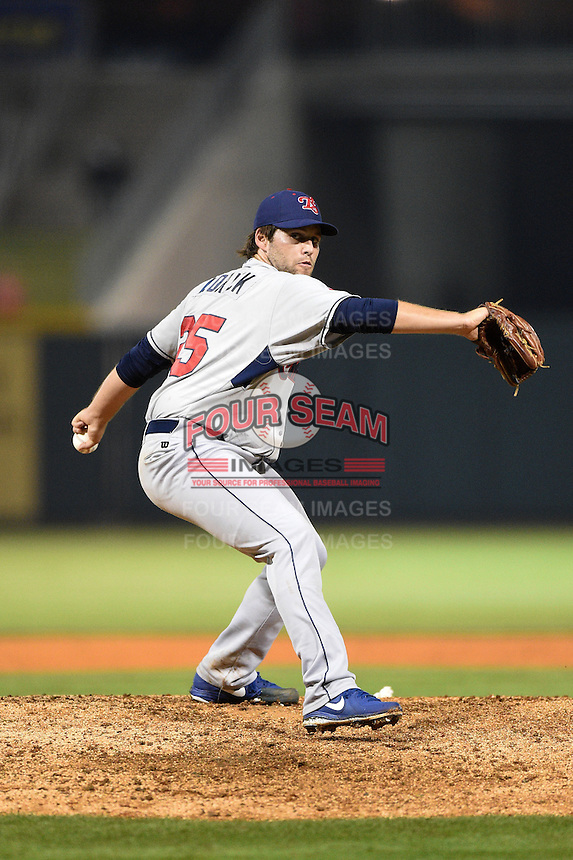 Tennessee Smokies pitcher Jeff Lorick (25) delivers a pitch during a game against the Birmingham Barons on April 22, 2014 at Regions Field in Birmingham, Alabama.  Birmingham defeated Tennessee 14-3.  (Mike Janes/Four Seam Images)