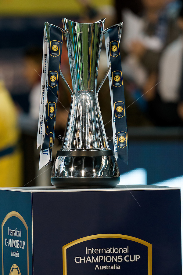 Melbourne, 18 July 2015 - The trophy on display at the International Champions Cup match at the Melbourne Cricket Ground, Australia. Roma def Real Madrid 7-6 Penalties. Photo Sydney Low/AsteriskImages.com