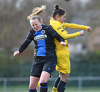 20200329 – BRUGGE, BELGIUM : Club Brugge's Elle Decorte pictured in a duel with Standard's Lola Wajnblum (11) during a women soccer game between Dames Club Brugge and Standard Femina de Liege on the 17 th matchday of the Belgian Superleague season 2019-2020 , the Belgian women's football  top division , saturday 29 th February 2020 at the Jan Breydelstadium – terrain 4  in Brugge  , Belgium  .  PHOTO SPORTPIX.BE | DAVID CATRY