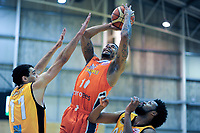 Orlando Coleman in action during the national basketball league match between Taranaki Mountainairs and Southland Sharks at TSB Stadium in New Plkymouth, New Zealand on Thursday, 12 July 2018. Photo: Dave Lintott / lintottphoto.co.nz
