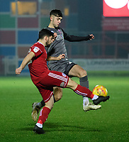 Lincoln City's Ellis Chapman vies for possession with Accrington Stanley's Piero Mingoia<br /> <br /> Photographer Andrew Vaughan/CameraSport<br /> <br /> The EFL Checkatrade Trophy Second Round - Accrington Stanley v Lincoln City - Crown Ground - Accrington<br />  <br /> World Copyright &copy; 2018 CameraSport. All rights reserved. 43 Linden Ave. Countesthorpe. Leicester. England. LE8 5PG - Tel: +44 (0) 116 277 4147 - admin@camerasport.com - www.camerasport.com