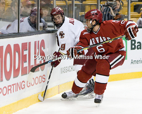 Barry Almeida (BC - 9), Ryan Grimshaw (Harvard - 6) - The Boston College Eagles defeated the Harvard University Crimson 6-0 on Monday, February 1, 2010, in the first round of the 2010 Beanpot at the TD Garden in Boston, Massachusetts.