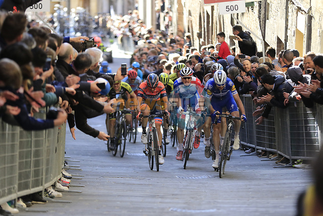 Marco Canola (Ita) Nippo-Vini Fantini-EUR.OV., Stefan Küng (SUI) Groupama-FDJ and Pieter Serry (BEL) Deceuninck-Quick Step climb Via Santa Caterina in Siena in the last km of Strade Bianche 2019 running 184km from Siena to Siena, held over the white gravel roads of Tuscany, Italy. 9th March 2019.<br /> Picture: Eoin Clarke | Cyclefile<br /> <br /> <br /> All photos usage must carry mandatory copyright credit (© Cyclefile | Eoin Clarke)