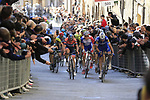 Marco Canola (Ita) Nippo-Vini Fantini-EUR.OV., Stefan K&uuml;ng (SUI) Groupama-FDJ and Pieter Serry (BEL) Deceuninck-Quick Step climb Via Santa Caterina in Siena in the last km of Strade Bianche 2019 running 184km from Siena to Siena, held over the white gravel roads of Tuscany, Italy. 9th March 2019.<br /> Picture: Eoin Clarke | Cyclefile<br /> <br /> <br /> All photos usage must carry mandatory copyright credit (&copy; Cyclefile | Eoin Clarke)