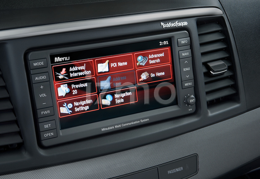 2008 Mitsubishi Lancer audio system detail with touch screen interface.