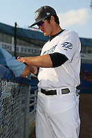 April 10th 2009:  Third baseman Kevin Ahrens of the Dunedin Blue Jays, Florida State League Class-A affiliate of the Toronto Blue Jays, during a game at Dunedin Stadium in Dunedin, FL.  Photo by:  Mike Janes/Four Seam Images