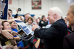 "Senator John McCain, Republican presidential candidate, and his wife, Cindy (right), campaign rally push for ""Super Tuesday"" votes. Nashville, Tennessee, February 2, 2008."